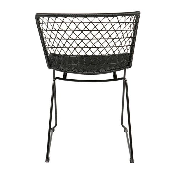 Quadro fekete szék szett fém konstrukcióval, 2 db-os - BePureHome