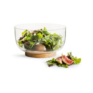Nature üveg salátástál tölgyfa talapzattal, ⌀ 18 cm - Sagaform