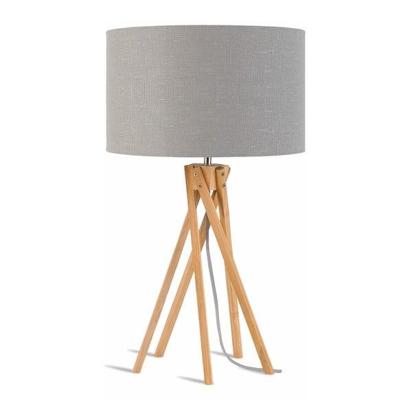 Kilimanjaro asztali lámpa világosszürke lámpaburával és bambusz lámpatesttel - Good&Mojo