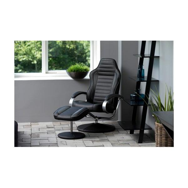 Ohio fekete állítható fotel lábtartóval - Actona