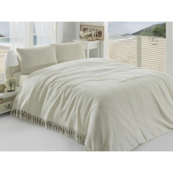 Pique krémszínű kétszemélyes pamut ágytakaró, 220 x 240 cm