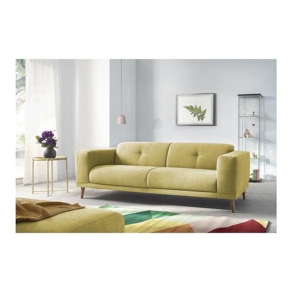 Luna sárga háromszemélyes kanapé lábtartóval - Bobochic Paris