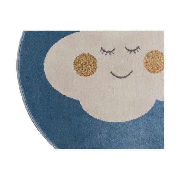 Blue Cloud kék, kerek szőnyeg felhő mintával, 133 x 133 cm - KICOTI