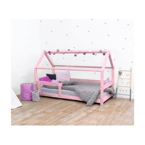 Růžová dětská postel s bočnicí ze smrkového dřeva Benlemi Tery, 90 x 190 cm