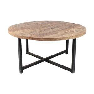 Dex fekete dohányzóasztal mangófa asztallappal, Ø 60 cm - LABEL51