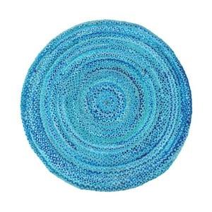 Modrý bavlněný kruhový koberec Garida, ⌀120cm