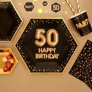 Glitz & Glamour Happy 50 8 db-os nagyméretű papírtányér szett - Neviti