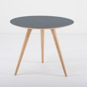 Arp tölgyfa kisasztal kék asztallappal, Ø 55 cm - Gazzda