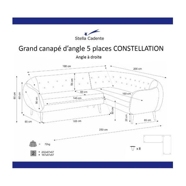 Constellation zöld jobb oldali háromszemélyes sarokkanapé - Scandi by Stella Cadente Maison