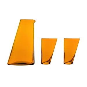 Ponza kézzel készített narancssárga kancsó, 2 pohárral - Surdic