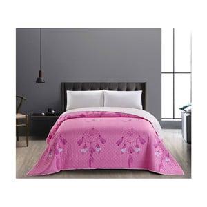 Sweet Dreams rózsaszín-fehér kétoldalú kétszemélyes takaró, 240 x 260 cm - DecoKing