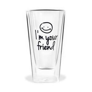 Im Your Friend duplafalú pohár, 300 ml - Vialli Design