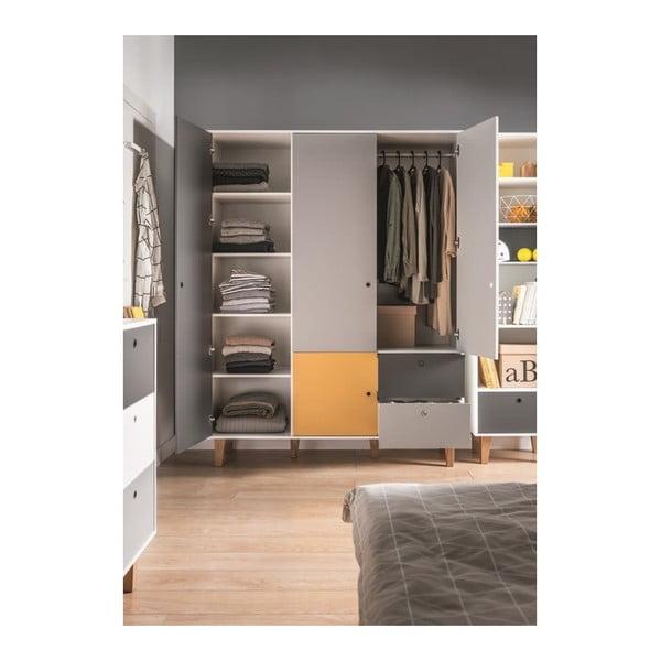 Concept fehér-szürke négyajtós ruhásszekrény sárga elemmel - Vox