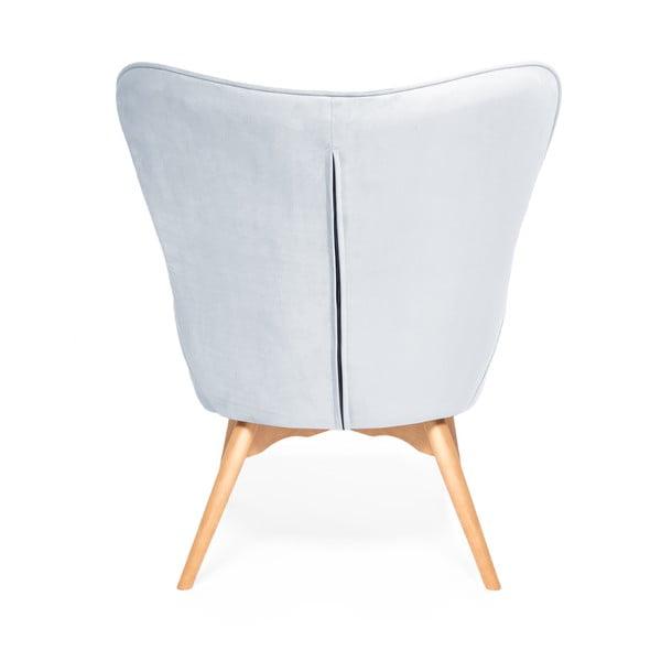 Cora Velvet kékesszürke fotel és lábtartó, természetes lábszerkezet - Vivonita
