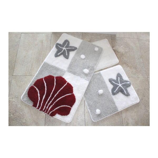 Knit Knot 3 darabos szürkés-piros fürdőszobai kilépő szett tengeri motívummal