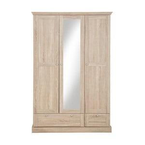 Bruce háromajtós ruhásszekrény tükörrel, tölgyfa dekor - Støraa