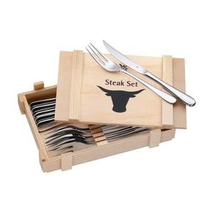 Cromargan® 6 darabos készlet steak húshoz, fadobozban - WMF