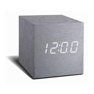 Cube Click Clock szürke ébresztőóra, fehér LED kijelzővel - Gingko