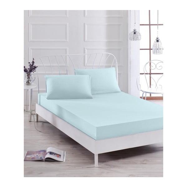Basso Azul világoskék lepedő és 2 párnahuzat szett egyszemélyes ágyhoz, 160 x 200 cm