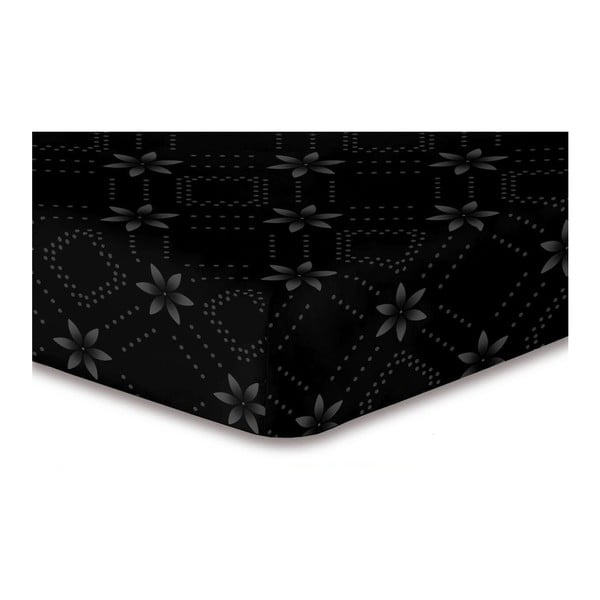 Hypnosis Snowynight fekete mintás gumis lepedő, 200 x 220 cm - DecoKing