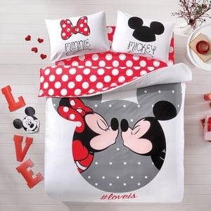 TAC Mickey&Minnie kétszemélyes pamut ágyneműhuzat lepedővel, 200 x 220 cm