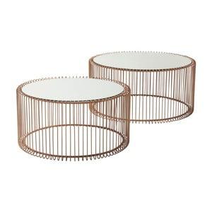 Wire Big 2 db-os tárolóasztal szett, rézszínű dekorral - Kare Design