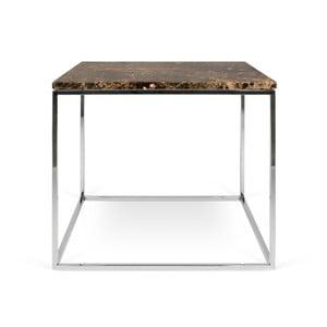 Gleam barna márvány dohányzóasztal krómozott lábakkal, 50 x 50 cm - TemaHome