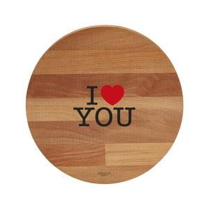 I Love You bükkfa tálalódeszka/vágódeszka, 30 cm - Bisetti
