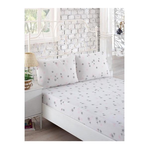 Softy elasztikus, fehér, egyszemélyes ágynemű szett, két párnahuzattal 160 x 200 cm