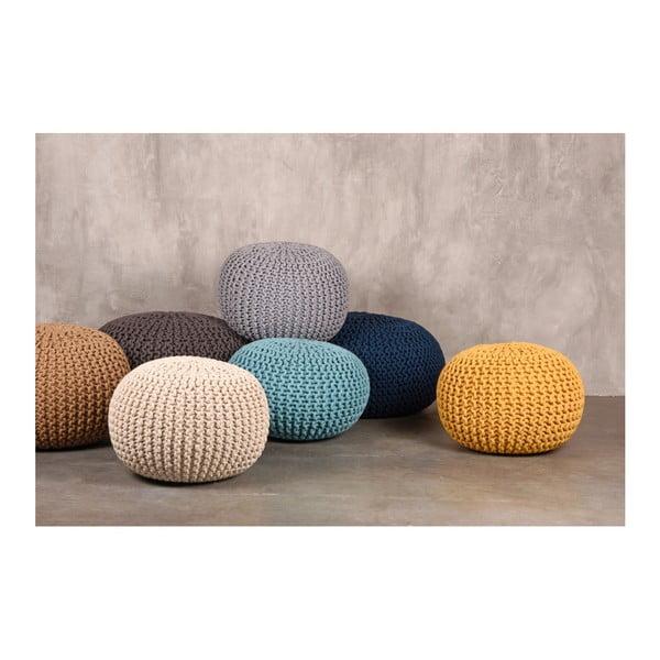 Knitted XL türkizkék kötött puff - LABEL51