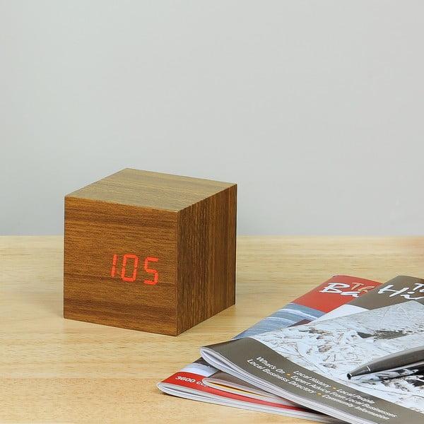 Cube Click Clock barna ébresztőóra piros LED kijelzővel - Gingko