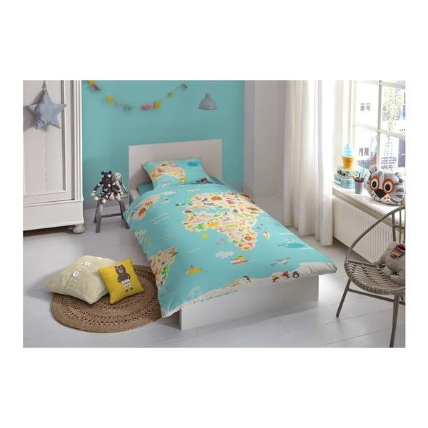 Worl Map gyerek pamut ágyneműhuzat, 140 x 200 cm - Good Morning