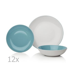 Duck Egg 12 db-os kék-fehér porcelán étkészlet - Sabichi