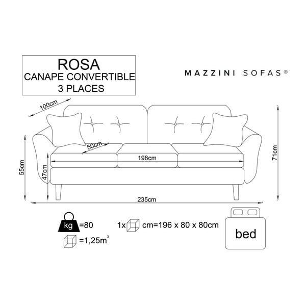 Rose sötétszürke kinyitható kanapé világos lábakkal - Mazzini Sofas