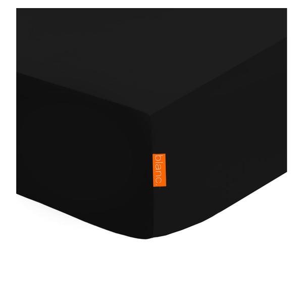 Basic fekete elasztikus lepedő 100% pamutból, 90 x 200 cm - Baleno