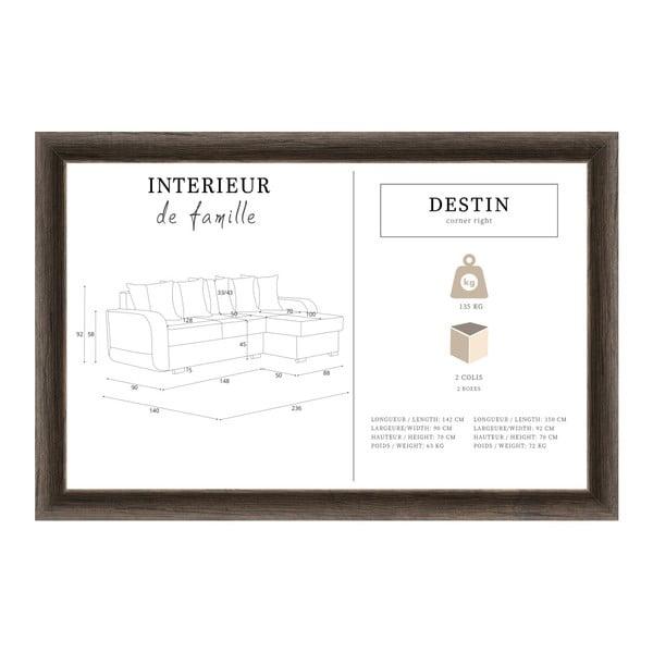 Destin sötétkék kanapé, jobb oldalas - Interieur De Famille Paris
