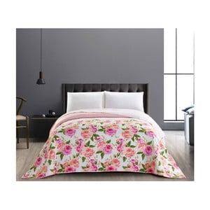 English Rose rózsaszín-fehér kétoldalú kétszemélyes takaró, 260 x 280 cm - DecoKing