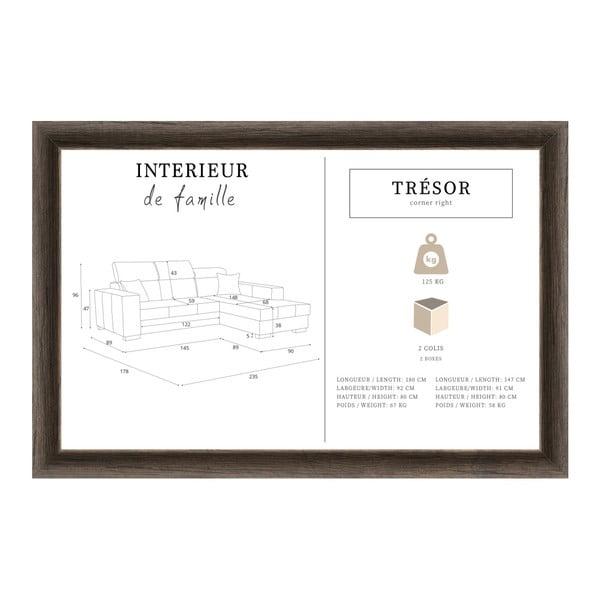 Tresor sötétkék kanapérózsaszín párnákkal, jobb oldalas - Interieur De Famille Paris