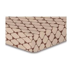 Béžové elastické prostěradlo se vzorem DecoKing Rhombuses,200x220cm