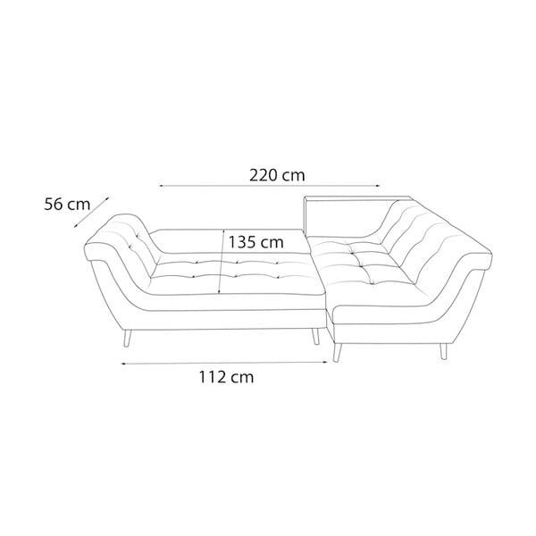 Real sötétszürke négyszemélyes kinyitható kanapé, jobb oldali - Bobochic Paris