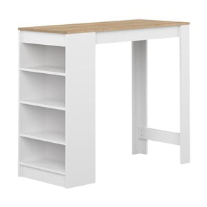Aravis fehér bárasztal tölgyfamintás asztallappal - Symbiosis
