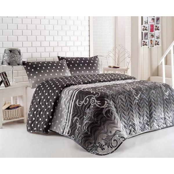 Buse Grey steppelt kétszemélyes ágytakaró párnahuzattal, 200 x 220 cm