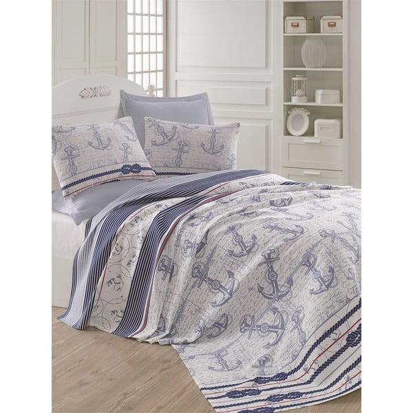 Capa Blue kékesszürke könnyű ágytakaró, 200 x 235 cm