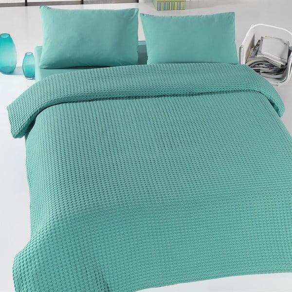 Green Pique zöld könnyű ágytakaró, 200 x 240 cm