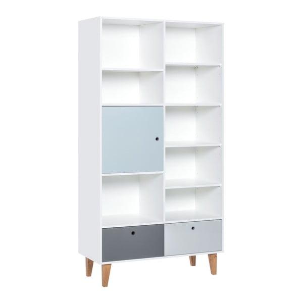 Concept tölgyfa könyvszekrény kék ajtóval, 105x201,5cm - Vox
