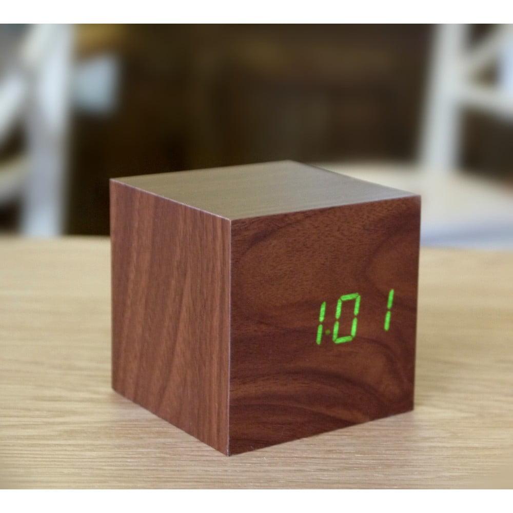 ... Cube Click Clock sötétbarna ébresztőóra zöld LED kijelzővel - Gingko ... eefc192880