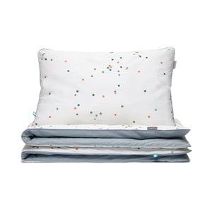 Confetti szürke-fehér gyerek pamut ágyneműhuzat garnitúra, egyszemélyes ágyhoz, 90x120cm - Mumla