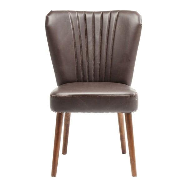 Filou barna bőrszék nyírfa lábakkal - Kare Design