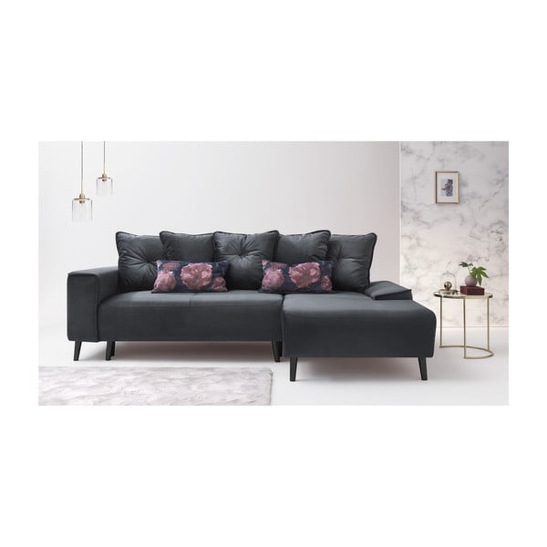 Hera Bis szürke kinyitható kanapé, jobb oldali - Bobochic Paris
