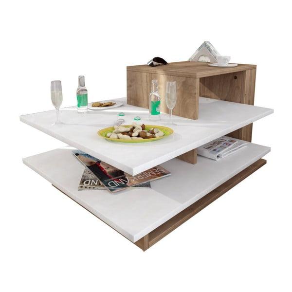 Venus fehér íróasztal diófa dekorelemekkel
